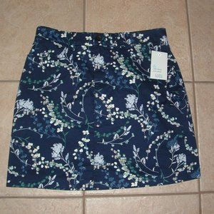NEW Choose Sz 4 10 or 18 Blue Floral Skort Pockets